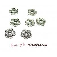 50 perles plates intercalaire Fleur 2Y6633 Vieil argent