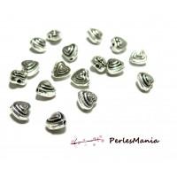 40 perles plates intercalaire Coeur BIFACE 2B2252 Vieil argent PM