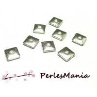 100 perles intercalaires 8mm CARRE 2W5721 ARGENT PLATINE