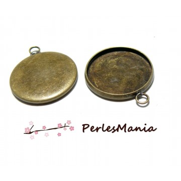 10 support de pendentif QUALITE attache ronde 20mm BRONZE
