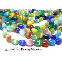 6 perles gouttes 10 par 14MM OEIL de chat multicolore H005