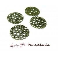10 pendentifs breloques rond dentelle fleur H3819 Bronze