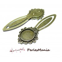 1 SUPPORT MARQUE PAGE ARTY 20 mm Bronze H157 pour cabochon, DIY