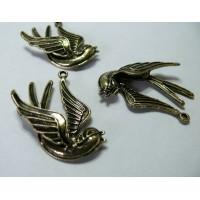 1 piece Breloque Bronze oiseau 3D
