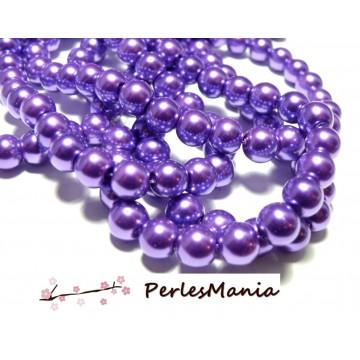 1 fil d'environ 105 perles de verre effet Nacre 8mm Violet Indigo HA36, DIY