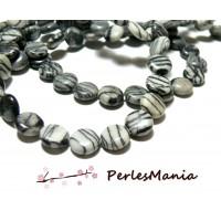 10 perles Jaspe ZEBRE GRIS et NOIR ROND et PLAT 10mm, DIY