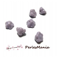 10 perles en forme de fleur en verre Violet parme trou transversale, 7 par 5 mm, DIY