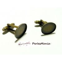 10 supports Boutons de manchettes Qualtié ID 32332 BRONZE ovale en 13 par 18mm