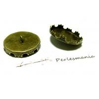 2 supports 15mm Boutons ROND COURONNE BRONZE pour création de bijoux