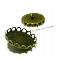 10 supports Boutons A COUDRE ROND VAGUE 20mm BRONZE, DIY