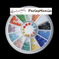 BOITE DE 240 cabochons nacré fond plat multicolores 3mm NAIL ART MULTICOLORES S1169707, DIY