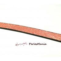 20 cm Cordon Simili Cuir PLAT 10mm ROSE SAUMON DORE, DIY