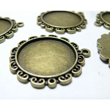 10 Supports de pendentif bronze fleur ref A18228