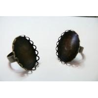 1 bague ovale bronze vague 18 par 25