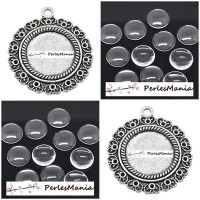 20 pièces: 10 pendentif ARTY OMAN 20mm ref140 VIEIL ARGENT et 10 cabochons