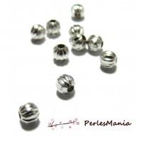 100 perles intercalaires 5mm striés 2D8567 Argent Platine