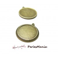 1 pendentif ARTY DOUBLE PICOT 25mm H6711 BRONZE