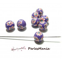 15 perles rondes fleur de fimo 10mm HQ21703O TONS VIOLET