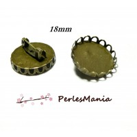 10 supports de broche vague pour cabochon en 18mm BRONZE 2D8761