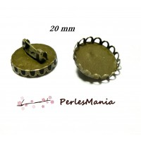10 supports de broche vague pour cabochon en 20mm BRONZE 2D8763