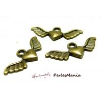 30 pendentifs breloque ailes coeur Bronze ref 595 pour vos bijoux