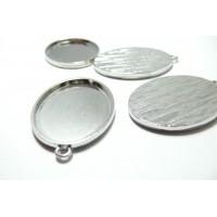 2 Supports de pendentif oval 30 par 40mm PP qualité attache ronde