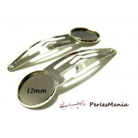 10 supports de barrettes clips 12mm ARGENT PLATINE Qualité Laiton