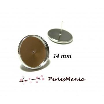 10 Supports de Boucle d'oreille puce 14mm ARGENT PLATINE QUALITE LAITON