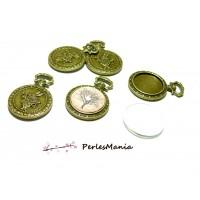 2 pièces: 1 support de pendentif TYPE MONTRE GOUSSET et LAPIN BRONZE ref 41 et 1 cabochon en 20mm