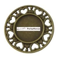 2 pendentifs ARTY ROND COEUR BRONZE ref245