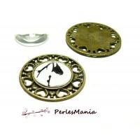 20 pièces: 10 pendentifs ARTY ROND COEUR BRONZE ref245 et 10 cabochons