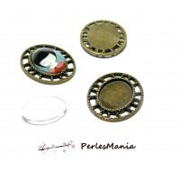 20 pièces: 10 pendentifs CONNECTEUR ARTY OVALE BRONZE ref248 et 10 cabochons
