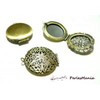 PAX 5 magnifique pendentif BOITE A PHOTO dentelle BRONZE S1113485