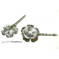Apprêt bijoux: 10 Supports de barrette fleur PP 2M6430