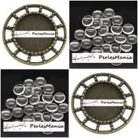 20 pièces: 10 pendentifs CONNECTEUR ARTY BRONZE ref 197 et 10 cabochons en 14mm