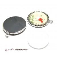 2 pièces: 1 pendentif rouleau ARGENT PLATINE 16mm et 1 cabochon en verre