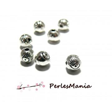 PAX 70 perles intercalaires passants OEIL 5mm ARGENT ANTIQUE S11408