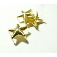 Lot de 10 clous à griffes en étoile OR 9mm pour customisation