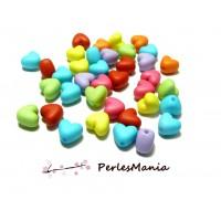PAX 100 COEUR multicolores coloris aléatoire10 mm H11725, DIY