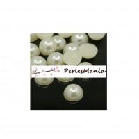 50 cabochons demi perle nacré fond plat IVOIRE Nail Art 10mm couleur 22