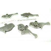 10 pendentifs OISEAU et ETOILE 3D 2A6628 metal couleur ARGENT ANTIQUE