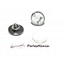 20 pièces: 10 supports de broche PINS en 16mm ARGENT PLATINE et 10 cabochons