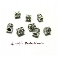 30 perles intercalaires TUBE FLEUR 6mm metal ARGENT ANTIQUE ref 87