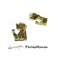 PAX 5 pendentifs, breloque 22mm RENARD ORIGAMI DORE S1182682