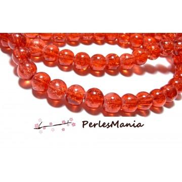 1 fil d'environ 110 perles RONDE en verre CRAQUELE 8mm ROUGE ORANGE 2G5107