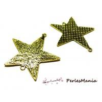 2 pendentifs CONNECTEUR GRANDE étoile martelée Vieil OR P15687