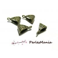 PAX 40 bélières passant TRIANGLE ART DECO 2Y1334 Metal couleur Bronze