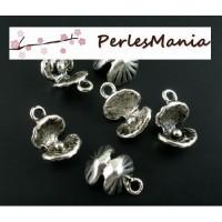 4 pendentifs COQUILLE et PERLE 3D 15 par 10mmmetal couleur ARGENT ANTIQUE ( S112338 )
