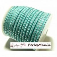 1 mètre de cordon de suédine strass cloutée Doré aspect Daim une rangée facettée VERT Turquoise H204