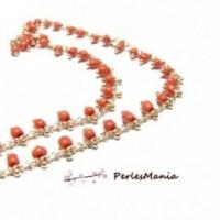 50 cm chaine Perles de rocaille 3mm ORANGE CORAIL et chaine OR, DIY